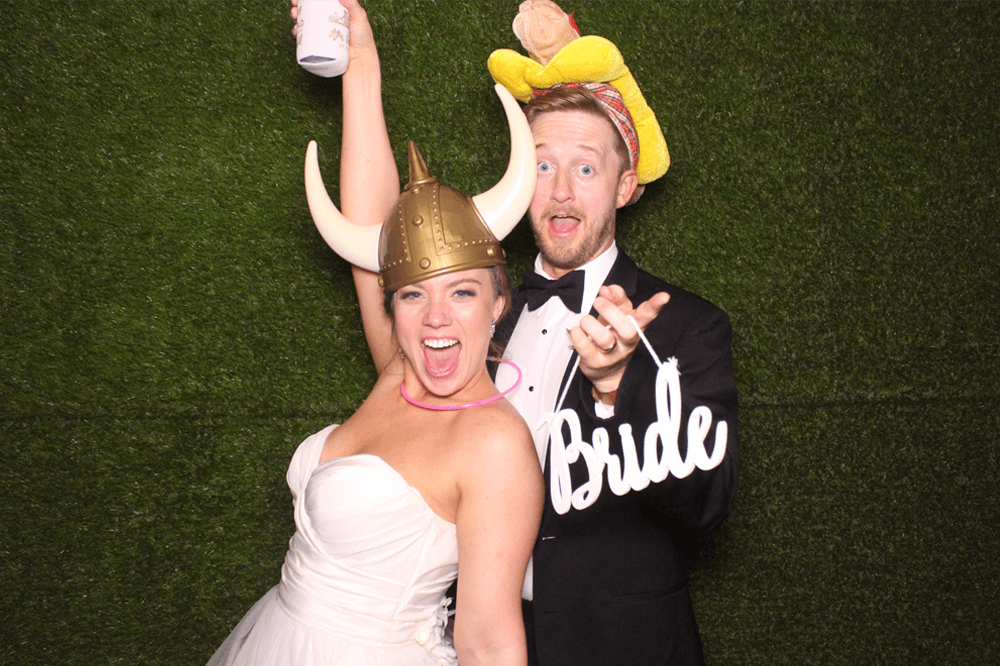 bride and groom in wedding photo booth