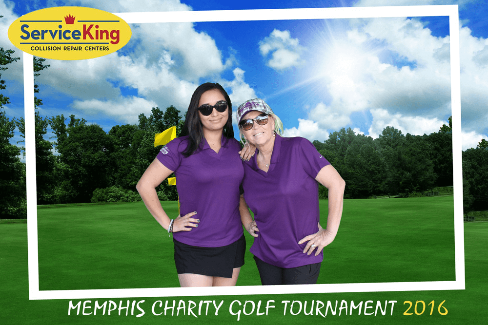 photo booth picture of women on golf course green screen