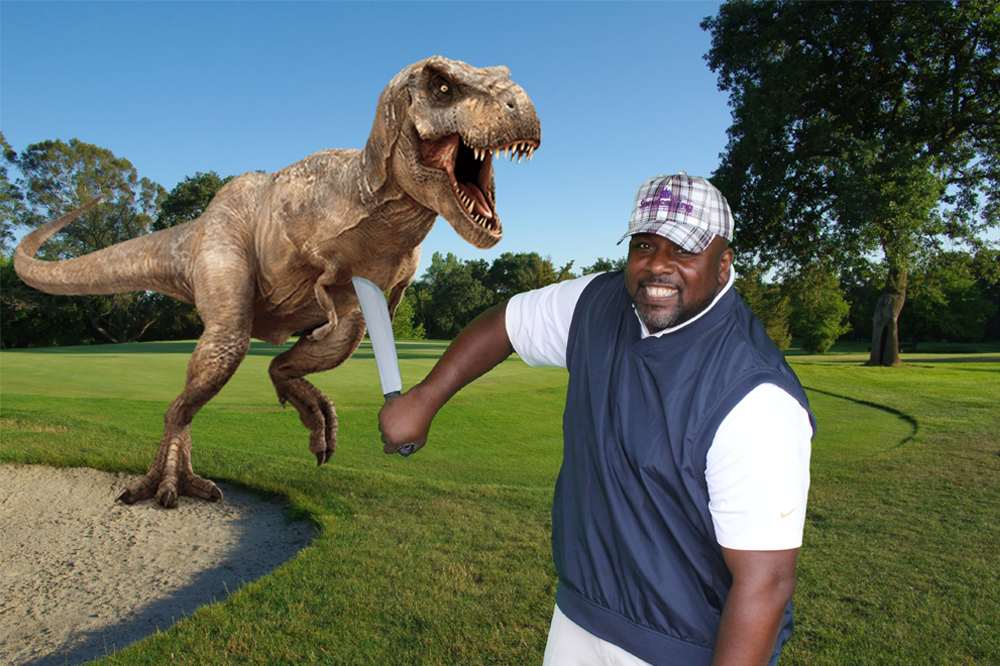 dinosaur running on golf course green screen image