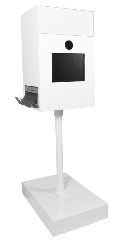 modern white open style print photo booth machine